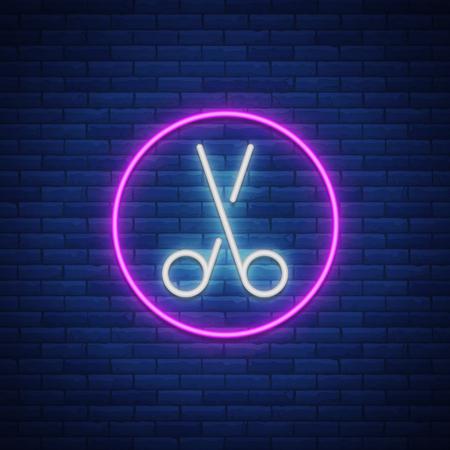 Scissors neon sign icon. Design element for logo, emblems for hairdresser and barbershop. Vector illustration