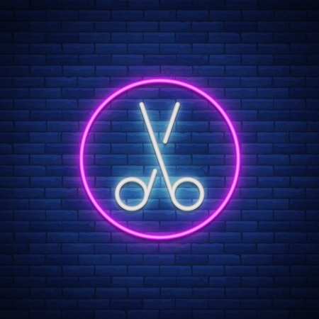 Scissors neon sign icon. Design element for logo, emblems for hairdresser and barbershop. Vector illustration