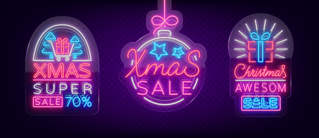 Set of posters, flyers cards on the topic of Xmas sales, Christmas neon style. New year discount. Festive winter sale, bright advertising banner. Neon sign on transparent glass.Vector illustration. Ilustrace