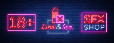 Adult shop set of logos in neon style. Collection of emblems. Neon effect, grocery store, intimate items. Vector illustration. Bright night banner, luminous sign, advertising shop.