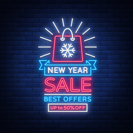 New Year Sale Card in Neon Style. Neon sign on New Year discounts. Happy New Year. Flyer, discount advertising, bright banner, flashing night sign, neon text. Vector illustration