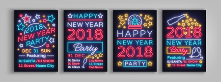 Happy New Year 2018 Set Poster Vector Illustration. Neon signs. Collection brochure design in a neon style style invitation invitation for the New Year party. Postcard, flyer, card, party promotion.