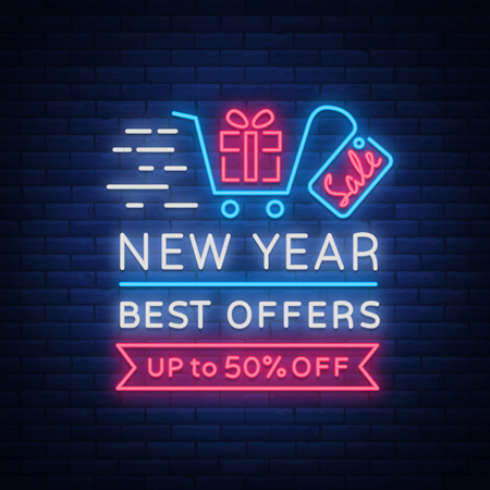 New Year Sale Card in Neon Style Vector illustration.