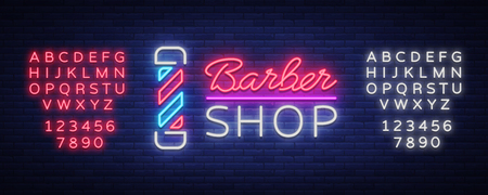 Vector logo neon sign barber shop for your design. For a label, a sign, a sign or an advertisement. Hipster Man, Hairdresser Logo. Billboard, luminous banner. Editing text neon sign.  イラスト・ベクター素材