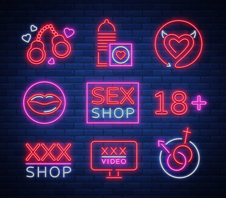 Collection of emblems of sex shop logos, signs, symbols in neon style; Shop for adults, intimate things; Bright night banner, luminous sign, night sex advertising shop. Çizim