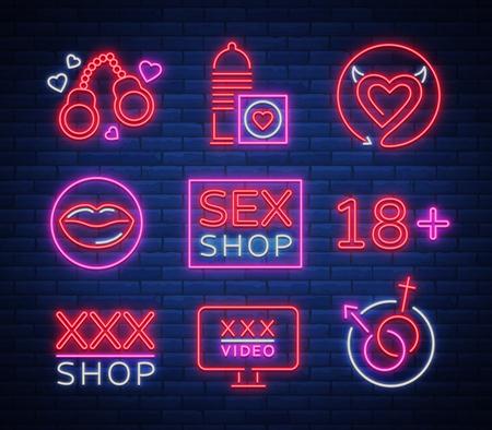 Collezione di emblemi di loghi, insegne, simboli in stile neon; Negozio per adulti, cose intime; Banner di notte luminosa, insegna luminosa, negozio di pubblicità del sesso notturno. Archivio Fotografico - 91337189