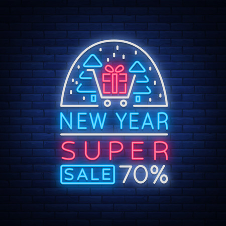 New Year Sale Card in Neon Style vector illustration Stock Vector - 91371131