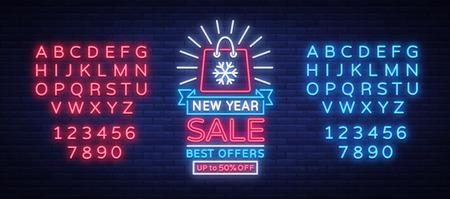 ネオンスタイルの新年セールカード。ネオンは新年の割引にサインします。明けましておめでとう。チラシ、割引広告、明るいバナー、点滅する看