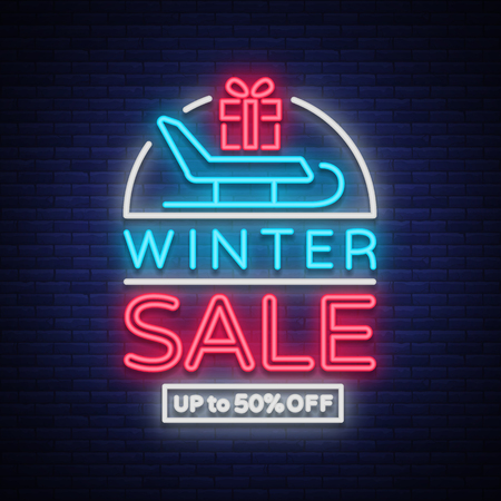 Winter sales banner in neon style. Vector illustration on winter, New Year and Christmas discounts and sales. Neon sign, bright sign, night lit advertising, postcard, neon poster, brochure