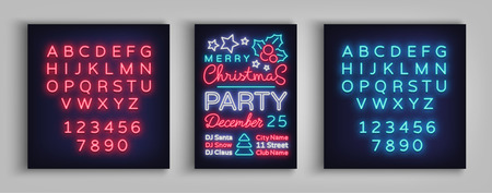 Christmas party invitation, brochure, poster. Merry Christmas, festive card in neon style. Postcard, flyer, bright sacred banner, neon advertising for your holiday projects. Editing text neon sign.