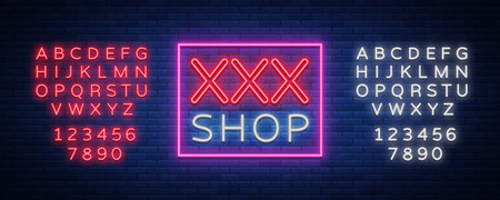 Adult shop logo, night sign in neon style. Neon sign, a symbol for  adult shop promotion. Adult Store. Bright banner, nightly advertising. Vector Illustration. Editing text neon sign. Neon alphabet