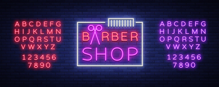 Barber shop neon sign design elements. Can be used as a header or template for labels, cards. Neon Signboard, Bright Lighting. Vector illustration. Editing text neon sign. 矢量图像