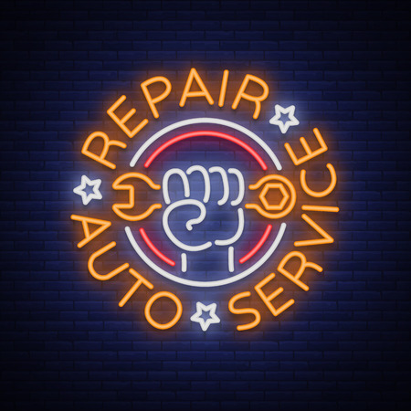 Auto service repair logo in neon style. Neon sign, a symbol on the topic of repairing cars. Emblem, bright banner, shiny sign, night non-neon bright advertising of auto repair. Vector illustration.