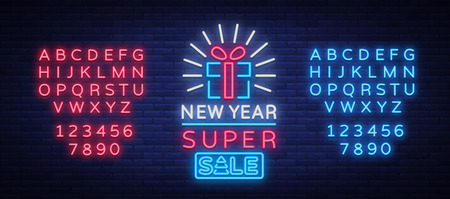 New Year Sale Card in Neon Style. Stock Vector - 91520145