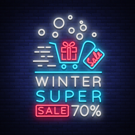 Winter sale vector. Neon sign, poster, bright flyer, neon sign. Bright night advertising of winter discounts. Card, banner, leaflet brochure