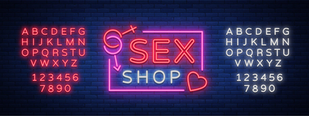 Sex Pattern Logo, Sexy xxx concept for adults in neon style. Neon sign, design element, storage, prints, facades, window signs, digital projects. Intimate store. Vector. Editing text neon sign Imagens - 91675724