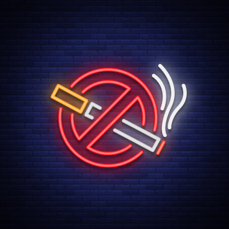 No smoking vector neon sign. Bright symbol, icon, luminous warning sign of smoking in an unauthorized place. Vettoriali