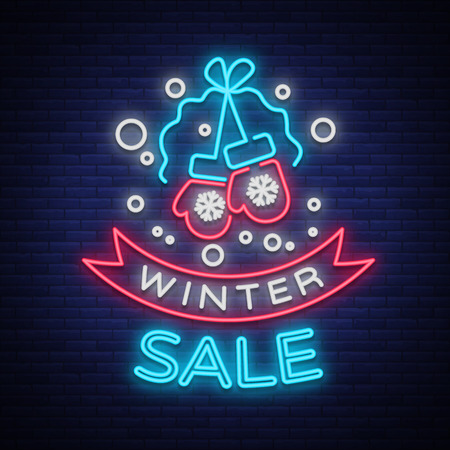 Winter sale of a poster in a neon style. Neon sign, bright flyer, glowing banner, night neon advertising on the theme of winter holiday discounts and sales. Vector illustration.