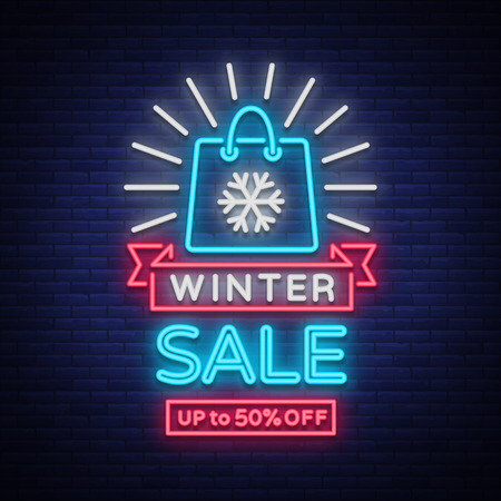Winter sale of a poster in a neon style. Neon sign, bright flyer, glowing banner, night neon advertising on the theme of winter holiday discounts and sales.