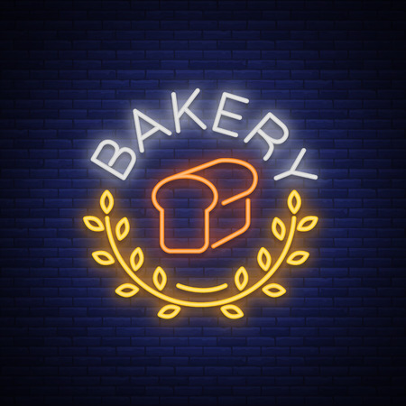 Bakery logo is a neon sign. Vector illustration on the topic of fresh pastries. Neon symbol, bright billboard, night shining advertisement Bakery.