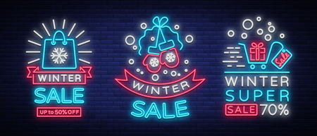 Winter sale is a set of banners in the neon style. Vector illustration on Winter, New Year and Christmas discounts and sales. Collection of neon signs, vivid sign, luminous advertising, postcard.