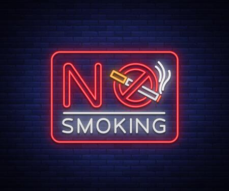 禁煙ネオンサイン。明るい文字、ネオンバナー、アイコン、無許可の場所での喫煙の発光警告サイン。タバコはやめろベクトルイラスト。