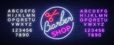 Logo, neon sign hairdresser and barbershop. Emblem, neon style label. Bright advertising billboard advertising banner, luminous banner. Vector illustration. Editing text neon sign. Neon alphabet.