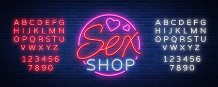 Sex Pattern Logo, Sexy xxx concept for adults in neon style. Neon sign, design element, storage, prints, facades, window signs, digital projects. Intimate store. Vector. Editing text neon sign. Stock Illustratie