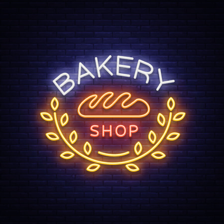 Bakery products logo, fresh bread, loaf. Neon sign, bright banner, shining symbol on the topic of fresh pastries and bakery products. Vector illustration. Ilustrace