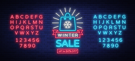 Winter sale of a poster in neon style. Neon advertising on the theme of winter holiday discounts and sales.