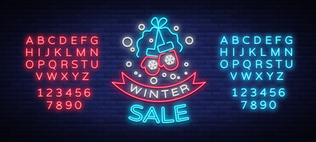 Neon sign, bright, glowing banner, night neon advertising on the theme of winter holiday discounts and sales in Editing text illustration.