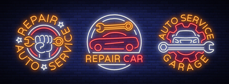 Car service repairs a set of vector logos, a neon sign emblem. Vector illustration, car repair, shiny signboard for garage for auto repair. Nightly bright signboard ad for your projects Иллюстрация