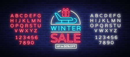 Winter sale vector. Neon sign, poster, bright flyer, neon sign. Bright night advertising of winter discounts. Card, banner, leaflet, brochure. Editing text neon sign. Neon alphabet
