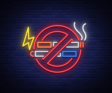 No smoking no vape neon sign. Bright symbol, neon banner, icon, illuminated sign of smoking and vaping in an unauthorized place. Stop electronic cigarettes. Stop smoking. Vector illustration