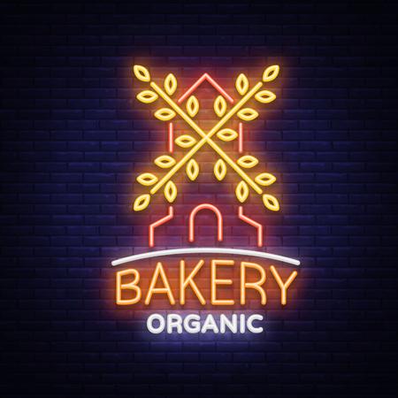 빵집 유기 로고, 신선한 빵, 빵. 베이커리, 베이킹, 제과에 벡터 일러스트 레이 션. 자연 베이킹. 귀하의 프로젝트에 대 한 네온 사인, 생생한 광고, 빛나 일러스트