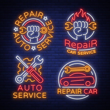 Auto service repair collection of logo in neon style. Set of neon sign, symbol on the topic of repairing cars. Emblem, bright banner sign, night bright advertising of auto repair. Vector illustration. Ilustrace