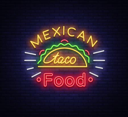 タコスロゴベクトル。メキシコ料理、タコス、ストリートフード、ファーストフード、スナックのネオンサイン。明るいネオンの看板、タコスの輝