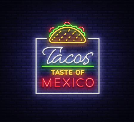 タコスロゴベクトル。メキシコ料理タコス、ストリートフード、ファーストフード、スナックのネオンサイン。明るいネオンの看板、タコスの輝く
