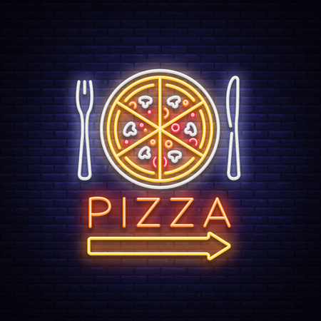 Pizza neon sign vector. Pizzeria neon logo, emblem. Neon advertising on the topic of pizza cafe, restaurant, dining room, snack bar, bar. Bright night billboard, shining banner. Vector illustration.  イラスト・ベクター素材