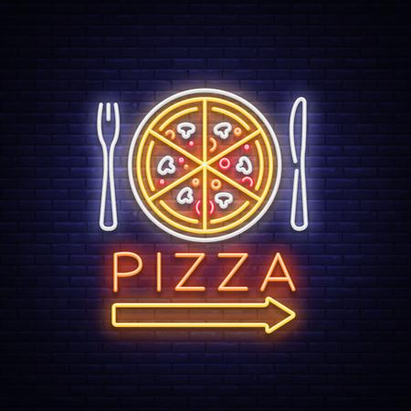 Pizza neon teken vector. Pizzeria neon logo, embleem. Neonreclame op het gebied van pizzacafé, restaurant, eetkamer, snackbar, bar. Helder nachtaanplakbord, glanzende banner. Vector illustratie Stock Illustratie