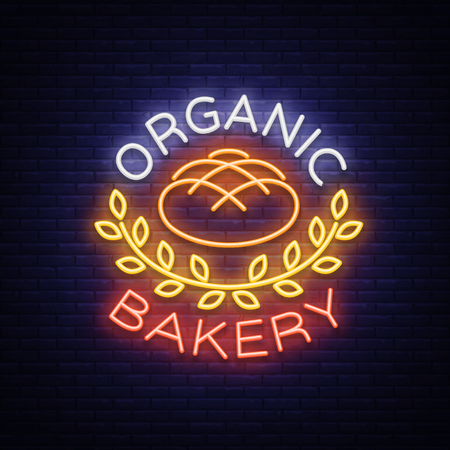 Bakery organic logo, fresh bread, loaf. Vector illustration on bakery, baking, confectionery. Natural baking. Neon sign, vivid advertising, luminous symbol for your projects. Illusztráció