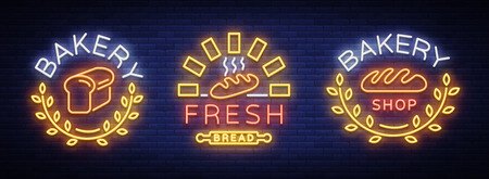 ベーカリーセットロゴ、焼きたてのパン、パン。ベーカリー、ベーキング、菓子のベクトルイラスト。ナチュラルベーキング。ネオンサインのコレ