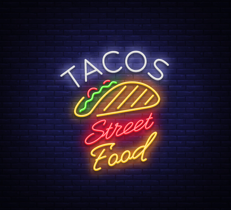 Tacos icon in neon style. Neon sign, symbol, bright billboard, nightly advertising of Mexican food Taco. Mexican street food, fast food. Vector illustration for your projects, restaurant, cafe.