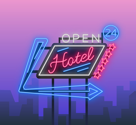 Hotel is a neon sign vector illustration. Retro signboard, billboard indicating the hotel, nightlight bright neon advertising of the hotel, luminous billboard, a bright banner for your projects.