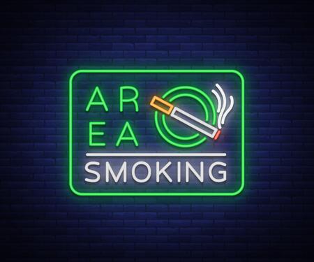 Smoking area Neon symbol sign vector illustration Illustration