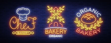 Illustration on the topic of fresh pastries. Set of neon symbols, vivid billboard, nightly brilliant advertisement of the Bakery. Reklamní fotografie - 92729972