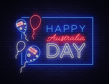 Happy Australia Day neon sign vector. Neon banner, bright card, luminous sign, Night neon welcome card Happy Australia day design template for your projects.