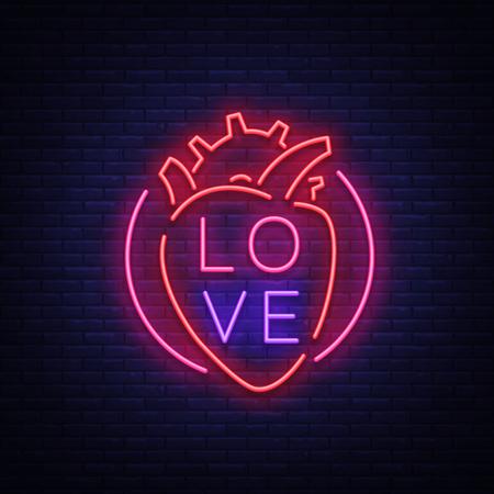 愛のシンボルベクトル。バレンタインデーをテーマにしたネオンサイン。あいさつ、リーフレット、チラシの炎のバナー。恋人の日のための明るい