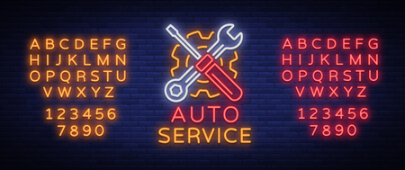 Auto service repair logo in neon style. Neon sign, a symbol on the topic of repairing cars. Ilustrace