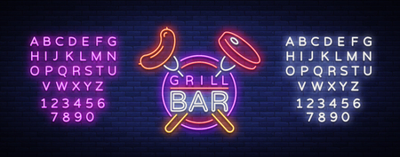 Grill logo in a neon style. Vector illustration on the theme of food, meat of the same. Neon sign, bright symbol, Grill bar, restaurant, snack bar, dining room. BBQ party. Editing text neon sign.